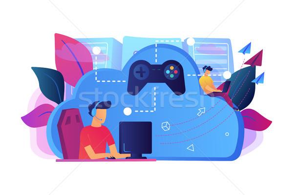 облаке два играет компьютер джойстик Сток-фото © RAStudio