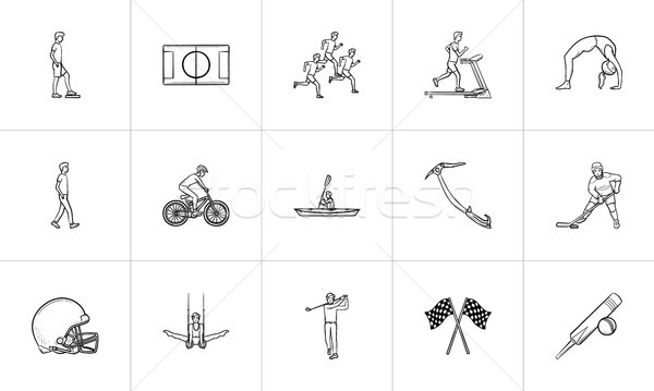 Sports hand drawn outline doodle icon set. Stock photo © RAStudio