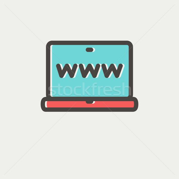 Website in laptop screen thin line icon Stock photo © RAStudio