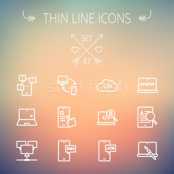 Stock fotó: Technológia · vékony · vonal · ikon · gyűjtemény · háló · mobil