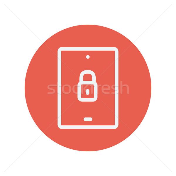 смартфон заблокированный тонкий линия икона веб Сток-фото © RAStudio