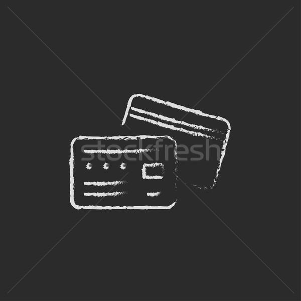 Stockfoto: Creditcard · krijt · Blackboard · vector