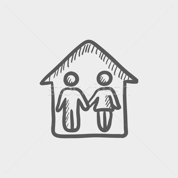 Casal casa esboço ícone teia móvel Foto stock © RAStudio
