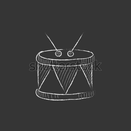 Trommel Symbol gezeichnet Kreide Hand gezeichnet Tafel Stock foto © RAStudio