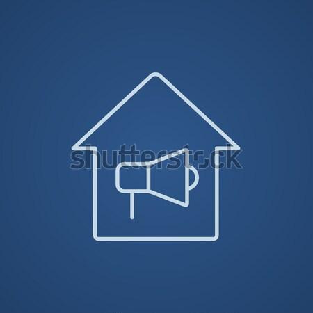 Casa alarme de incêndio linha ícone teia móvel Foto stock © RAStudio