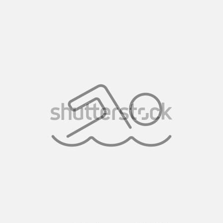 Pływak line ikona internetowych komórkowych infografiki Zdjęcia stock © RAStudio