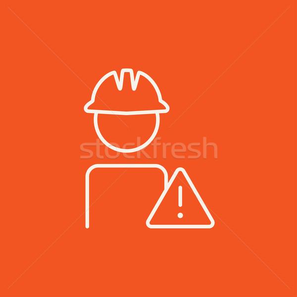 Pracownika ostrożność podpisania line ikona Zdjęcia stock © RAStudio