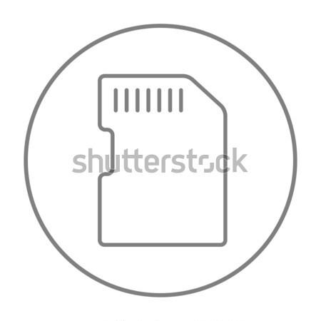 Memoria tarjeta línea icono web móviles Foto stock © RAStudio