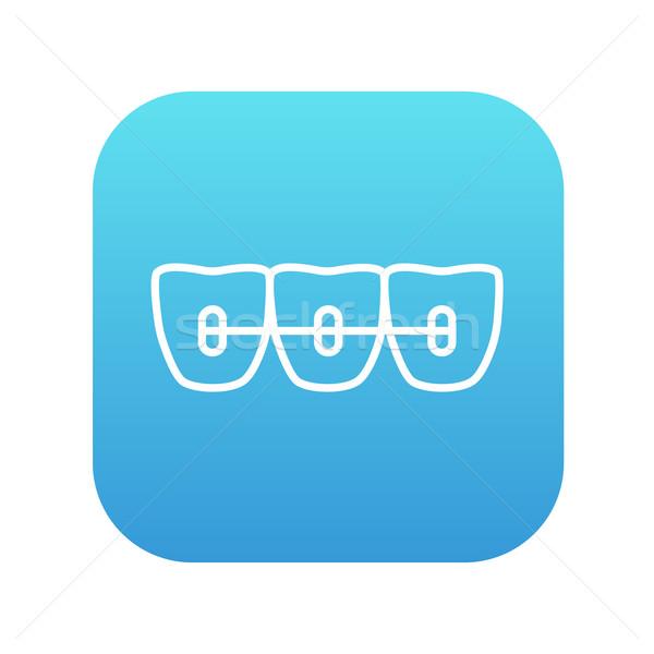Orthodontische bretels lijn icon web mobiele Stockfoto © RAStudio