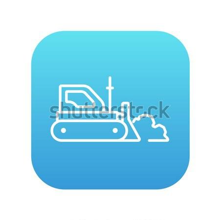 бульдозер линия икона веб мобильных Инфографика Сток-фото © RAStudio