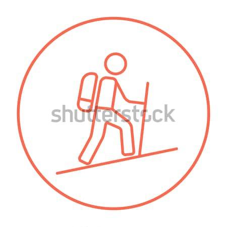 Turista hátizsákos turista vonal ikon háló mobil Stock fotó © RAStudio