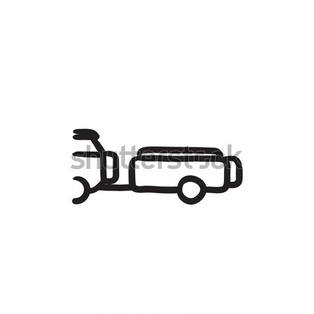 Car with trailer line icon. Stock photo © RAStudio