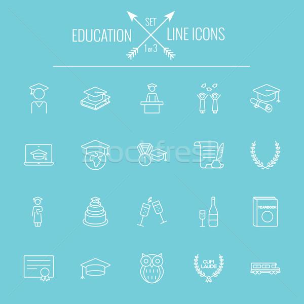 Onderwijs vector witte icon geïsoleerd Stockfoto © RAStudio