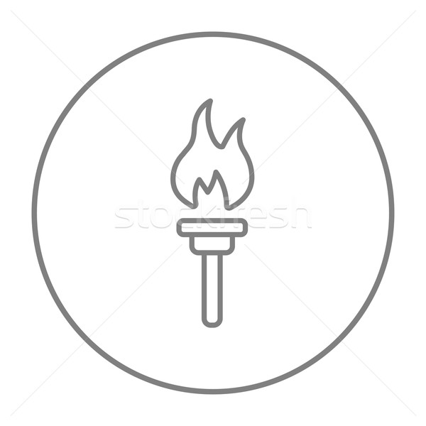 Burning olympic torch line icon. Stock photo © RAStudio