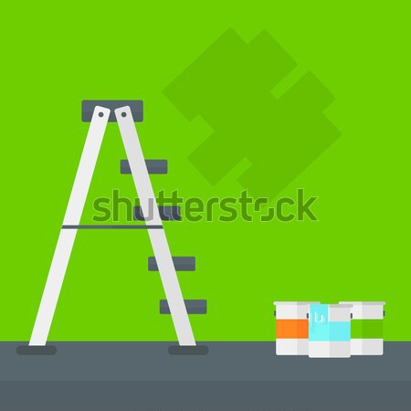 Background of wall with paint cans and ladder. Stock photo © RAStudio