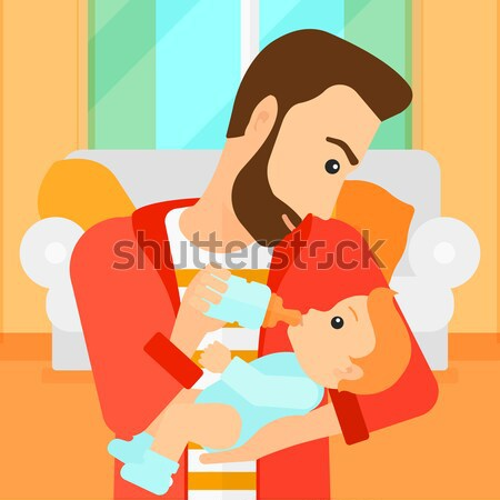 Man feeding baby. Stock photo © RAStudio