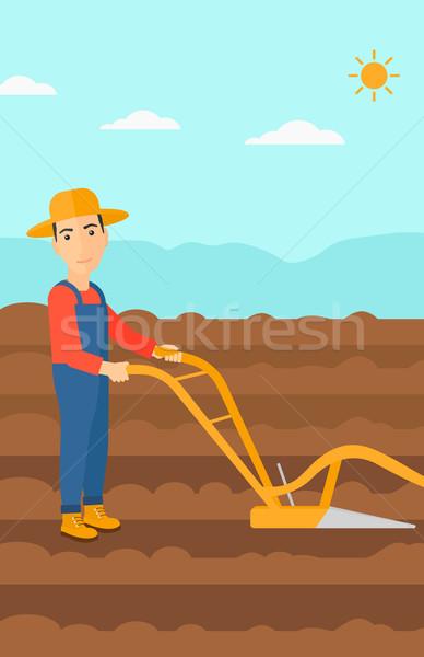 Gazda mező eke férfi mezőgazdasági vektor Stock fotó © RAStudio