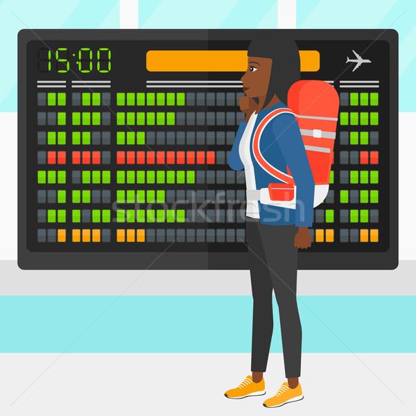 Vrouw naar schema boord luchthaven vector Stockfoto © RAStudio