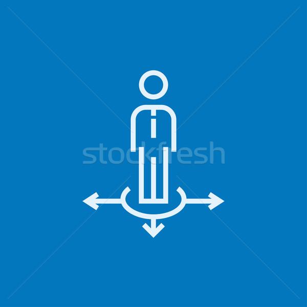 Businessman in three ways line icon. Stock photo © RAStudio