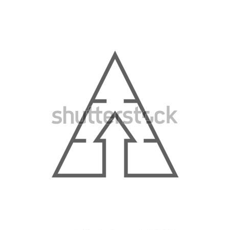 Piramit ok yukarı hat ikon köşeler Stok fotoğraf © RAStudio