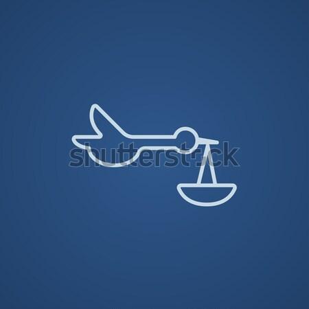 Baby basket with stork line icon. Stock photo © RAStudio