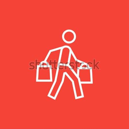Man lijn icon hoeken Stockfoto © RAStudio