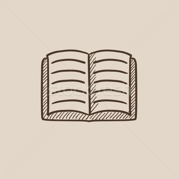 Open boek schets icon web mobiele infographics Stockfoto © RAStudio