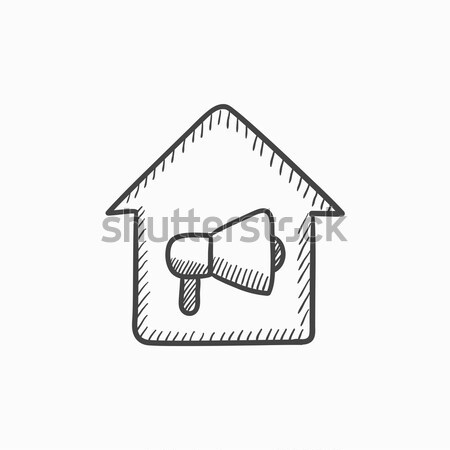 Stock photo: House fire alarm sketch icon.