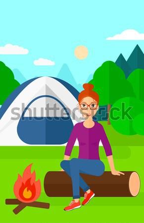 Nő ül tábor ázsiai tűz kempingezés Stock fotó © RAStudio