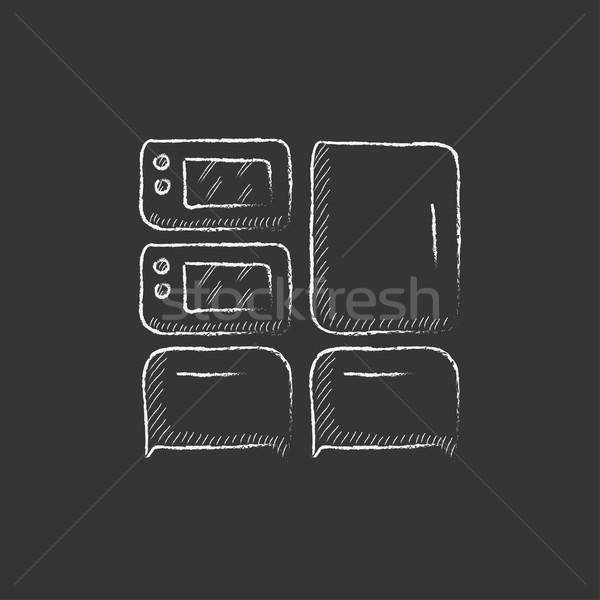 домашнее хозяйство мелом икона рисованной Сток-фото © RAStudio