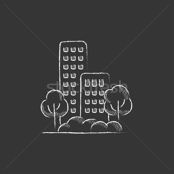 Residential building with trees. Drawn in chalk icon. Stock photo © RAStudio