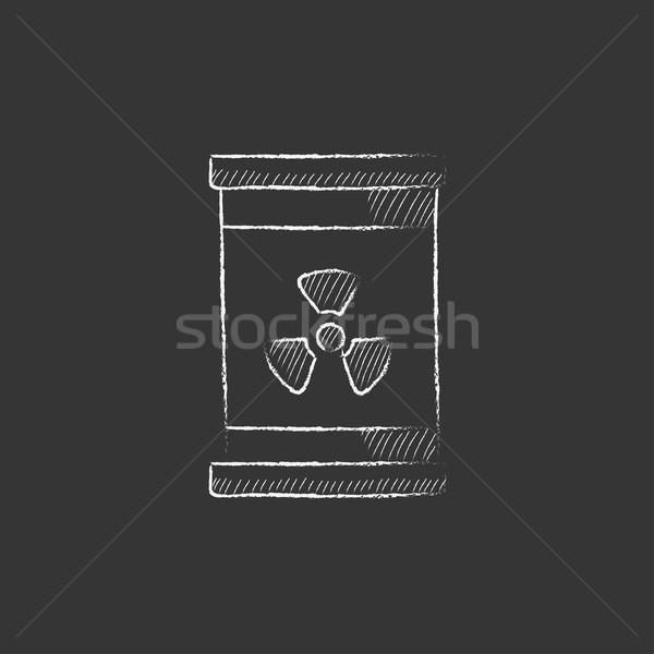 баррель излучение знак мелом икона Сток-фото © RAStudio