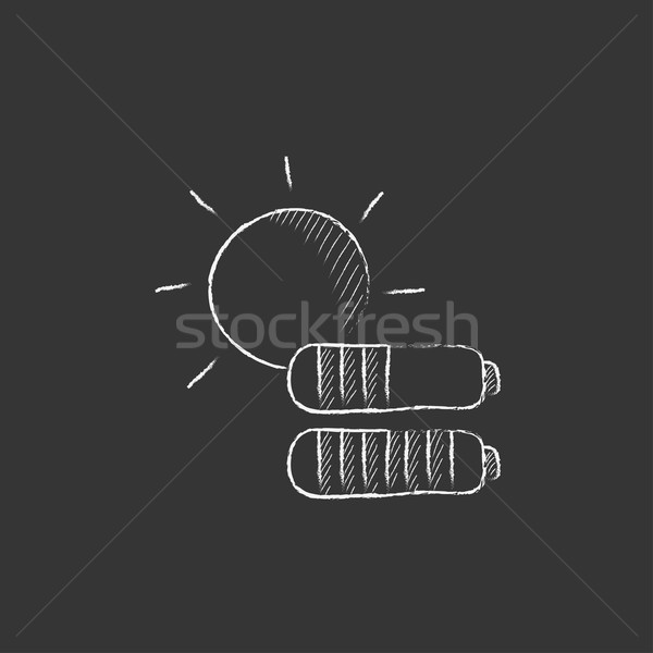Zonne-energie krijt icon zon twee Stockfoto © RAStudio