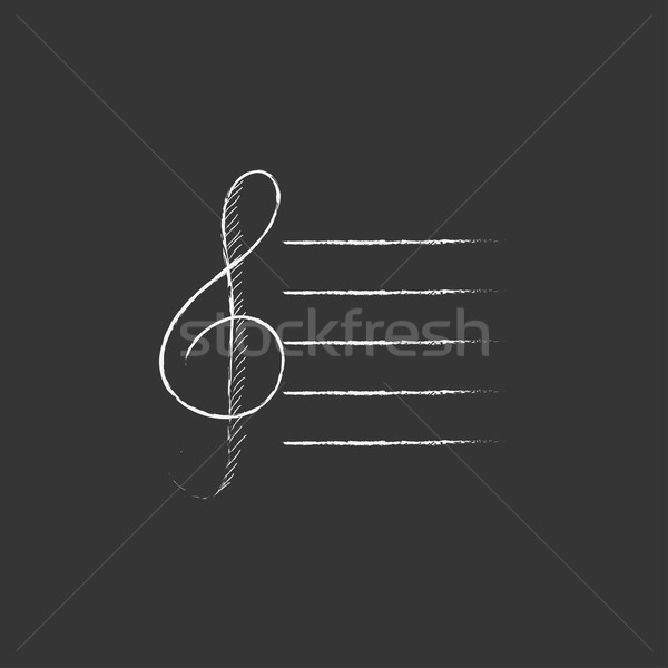 Treble clef. Drawn in chalk icon. Stock photo © RAStudio