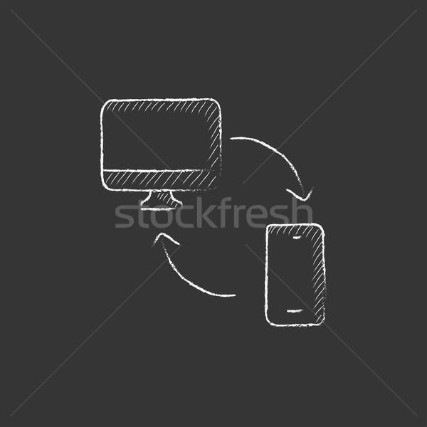 Synchronization computer with mobile device. Drawn in chalk icon. Stock photo © RAStudio
