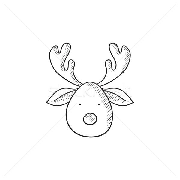 Christmas deer sketch icon. Stock photo © RAStudio