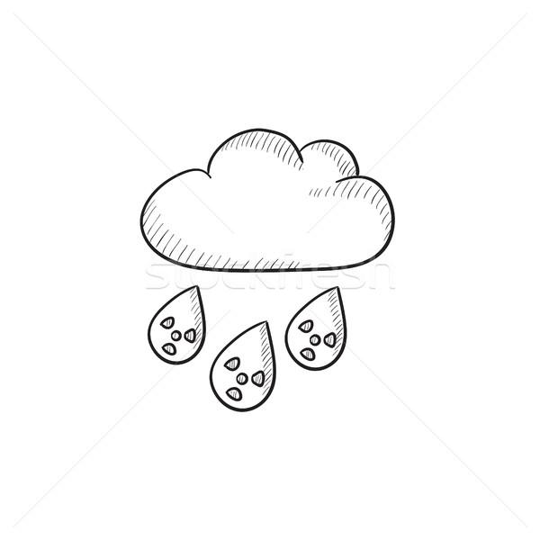 радиоактивный облаке дождь эскиз икона вектора Сток-фото © RAStudio