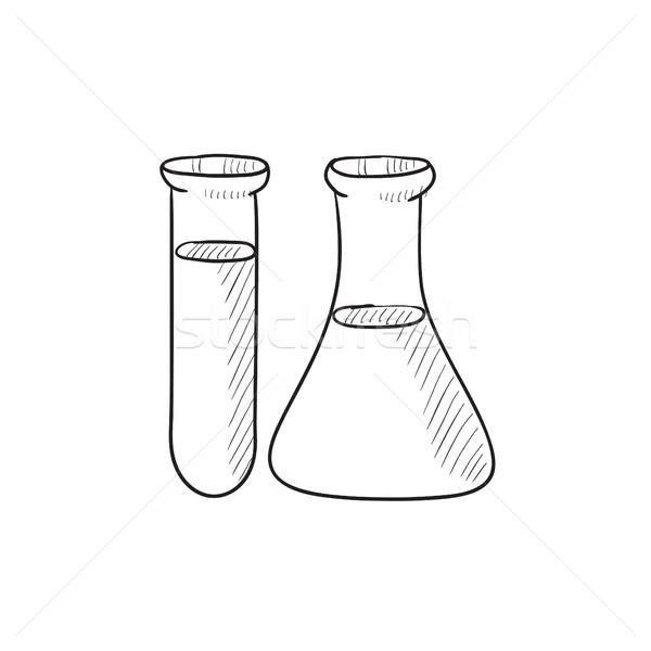 Stock photo: Test tubes sketch icon.