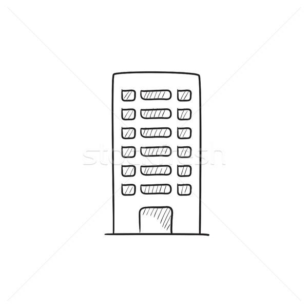 жилой здании эскиз икона вектора изолированный Сток-фото © RAStudio