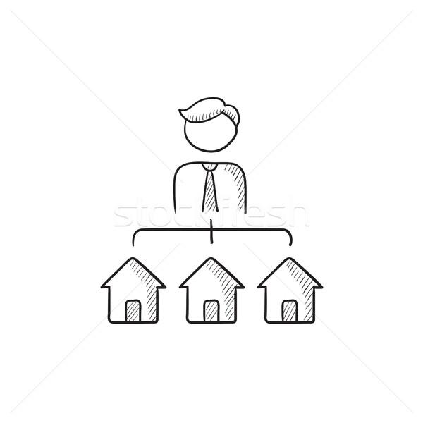 Real estate agent with three houses sketch icon. Stock photo © RAStudio