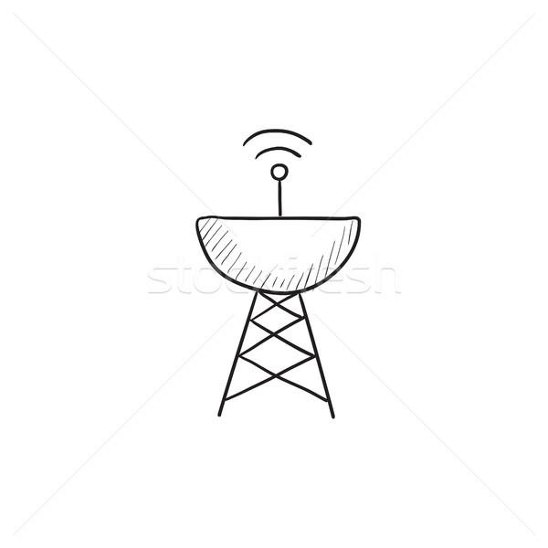 Radar antena satelitarna szkic ikona wektora odizolowany Zdjęcia stock © RAStudio