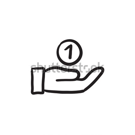 Hand and one coin sketch icon. Stock photo © RAStudio