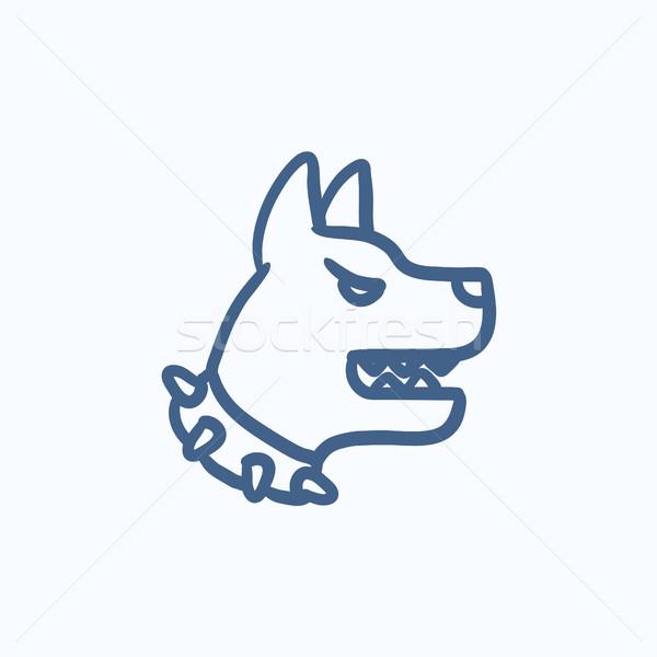 Сток-фото: агрессивный · полиции · собака · эскиз · икона · вектора