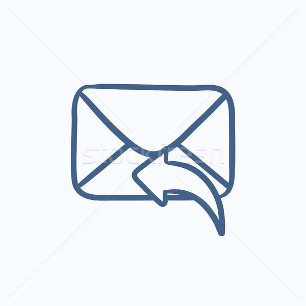 электронная почта эскиз икона вектора изолированный Сток-фото © RAStudio