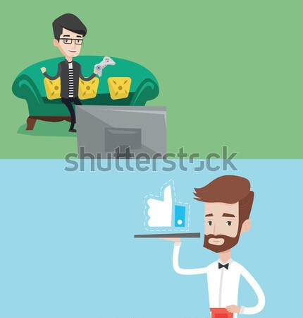 Businessman meditating in lotus position. Stock photo © RAStudio
