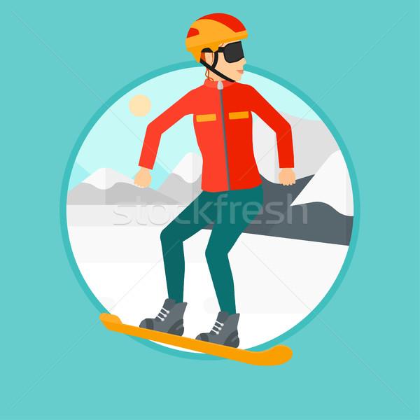 Jonge vrouw snowboarden sneeuw berg vrouw Stockfoto © RAStudio