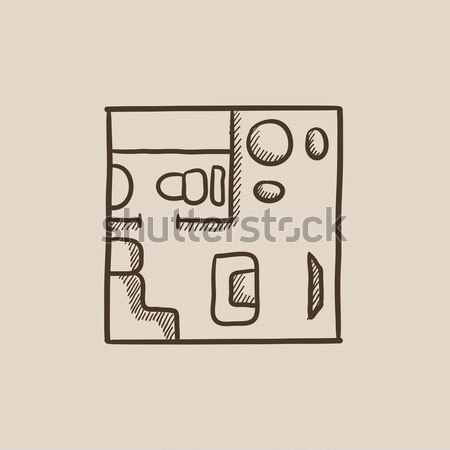 Házbelső bútor rajz ikon vektor izolált Stock fotó © RAStudio