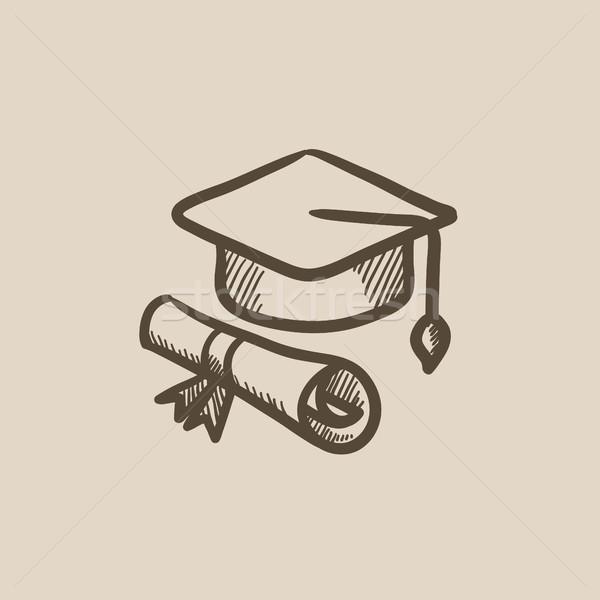 Afstuderen cap papier scroll schets icon Stockfoto © RAStudio