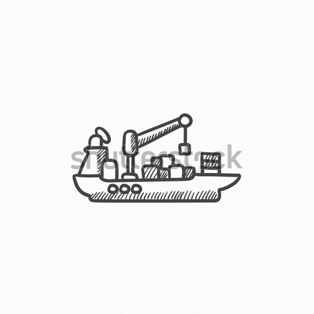 Carga navio porta-contentores esboço ícone vetor isolado Foto stock © RAStudio