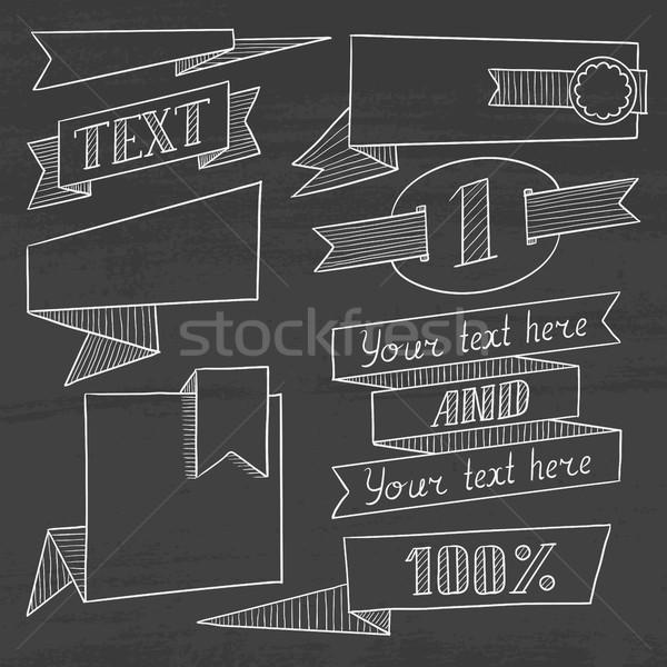 Stok fotoğraf: Ayarlamak · bağbozumu · kareler · kara · tahta · etiketler